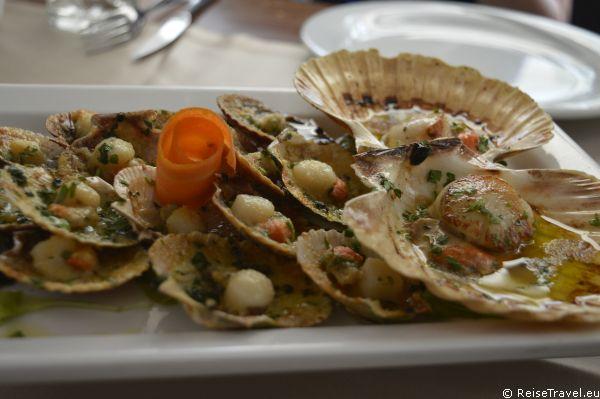 Jacobsmuseln in Jeoslo Küche Pizza und Pasta